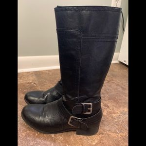 Nine West Size 4 Black Boots With Two Buckles